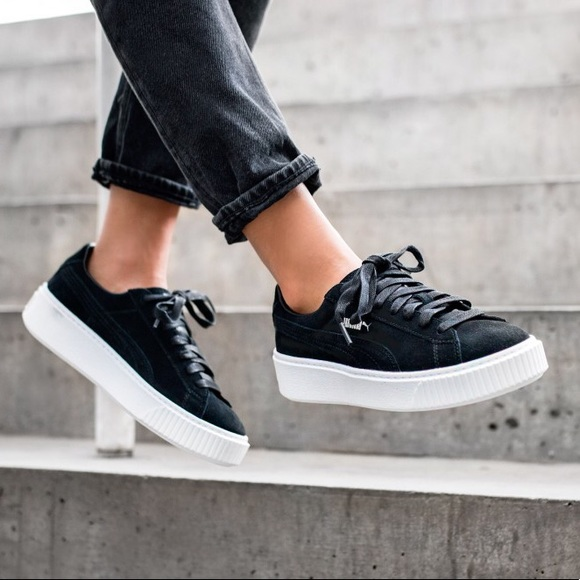 new style cd58b ce978 PUMA | black suede platform sneakers NWT